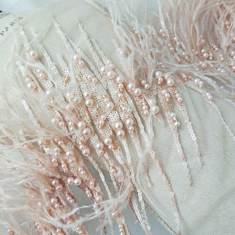 130x21 cm Dentelle française Tissu perle perlée plume brodée Sequin garniture Dentelle Tissu Applique ruban Guipure Encaje TR0028