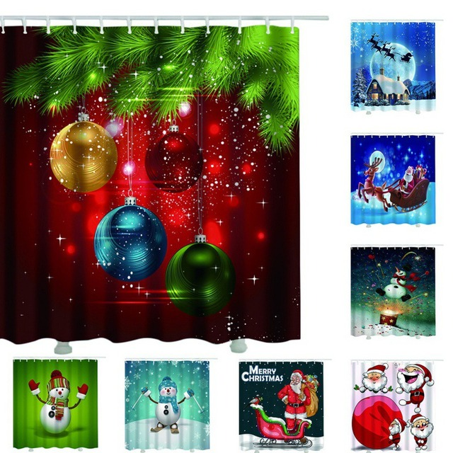 Christmas Shower Curtain Bathroom 3d Curtains Flower Snowflake Xmas Art Waterproof New