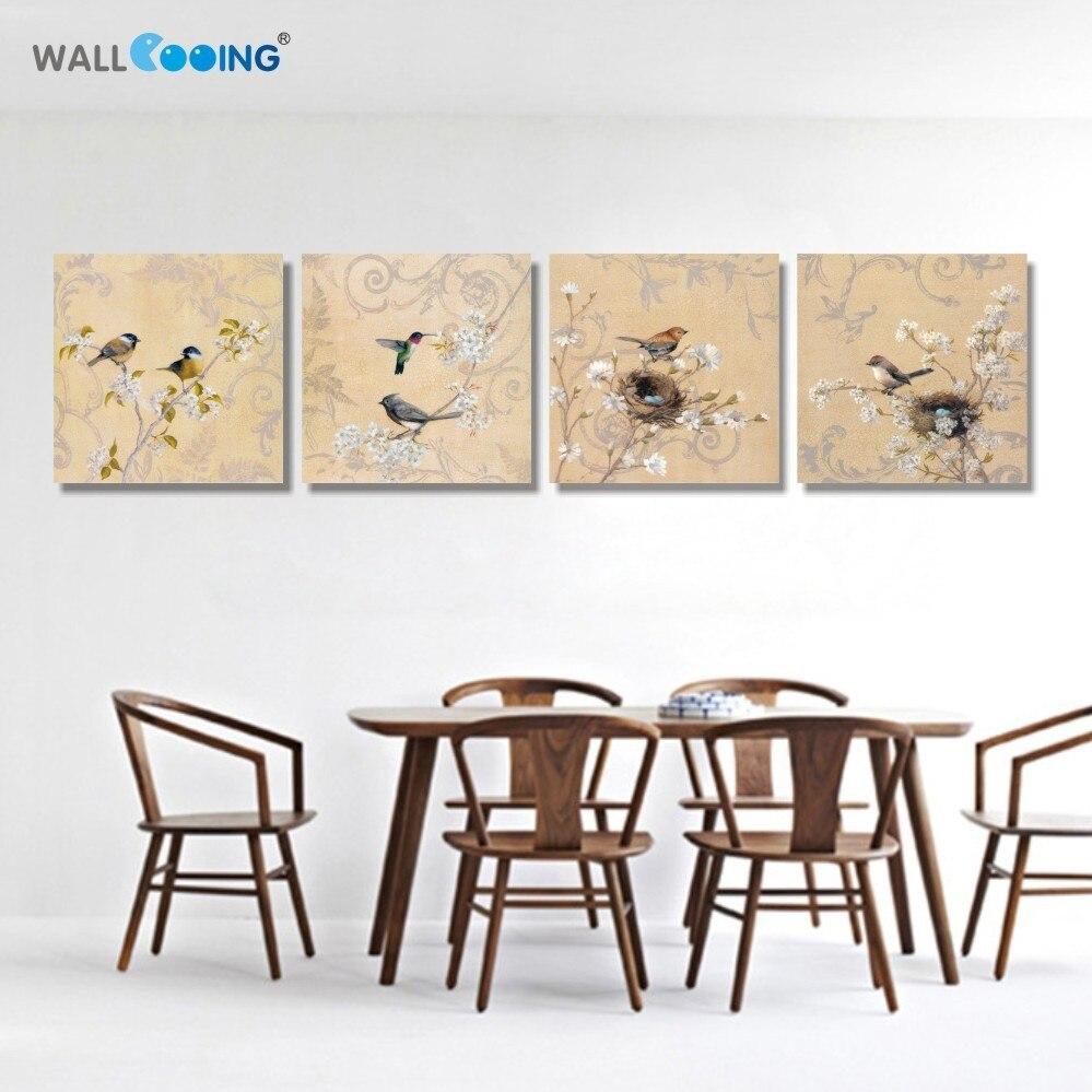 4 panels leinwand malerei monopol Modulare bilder undertale Gelb vogel kirsche vintage blume malerei poster Malerei