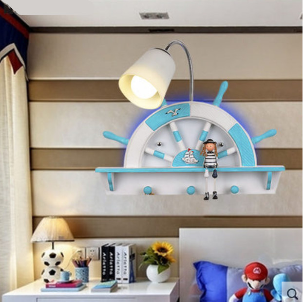 Mediterranean Style Childrens Room Wall Lamps Boy Bedroom Bedside - Childrens bedside lamps bedroom