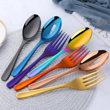 Kitchen 304 Stainless Steel Spoon Set Large Salad Dinner Serving Spoons Server Metal Fork Cutlery Utensils
