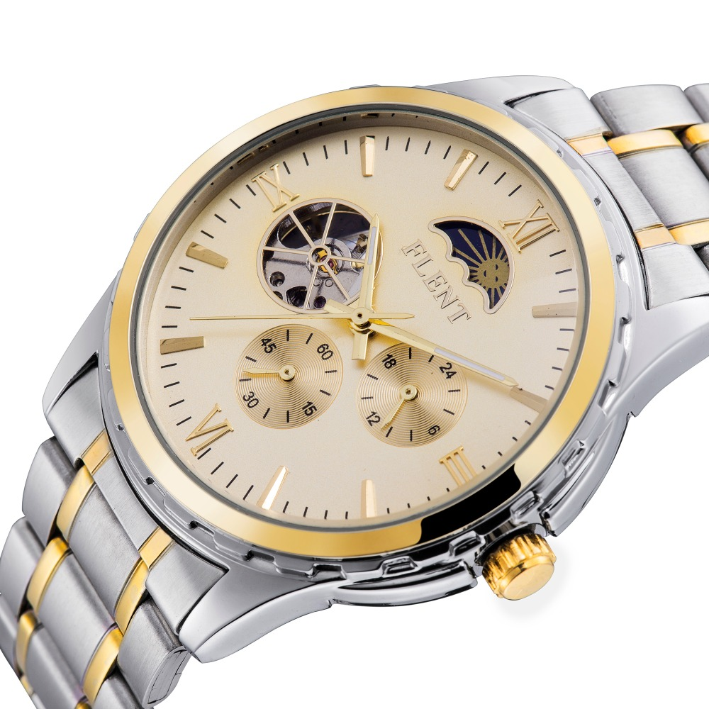 2016 Men Automatic Watch Full Steel Band Moon Phase Second Hand Business Mechanical Watches