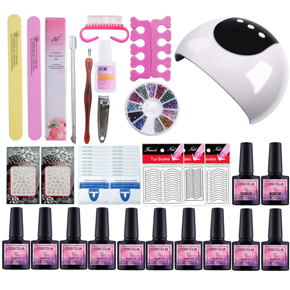 Manicure Set With Dryers Lamp For Nails Set For Gel Nail Polish Set For Manicure Nail Extension Set 10 Colors Gel Varnish m theory nails wraps stickers eastern plum flower 3d nails arts polish sticker gel varnish decals manicure decorations