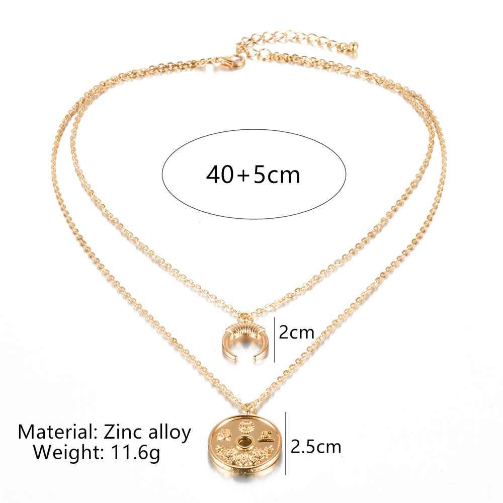 AILEND модное женское ожерелье личности ретро новые монеты Луна сочетание двойное ожерелье набор богемные ювелирные изделия