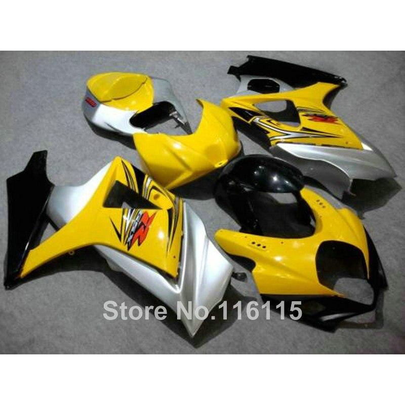High quality ABS fairing kit for SUZUKI GSXR 1000 2007 2008 K7 K8 yellow silver black fairings set 07 08 GSXR1000 JS26 abs plastic fairing kit for suzuki gsxr1000 2007 2008 k7 gsxr 1000 07 08 red black moto fairings set cb34 7 gifts