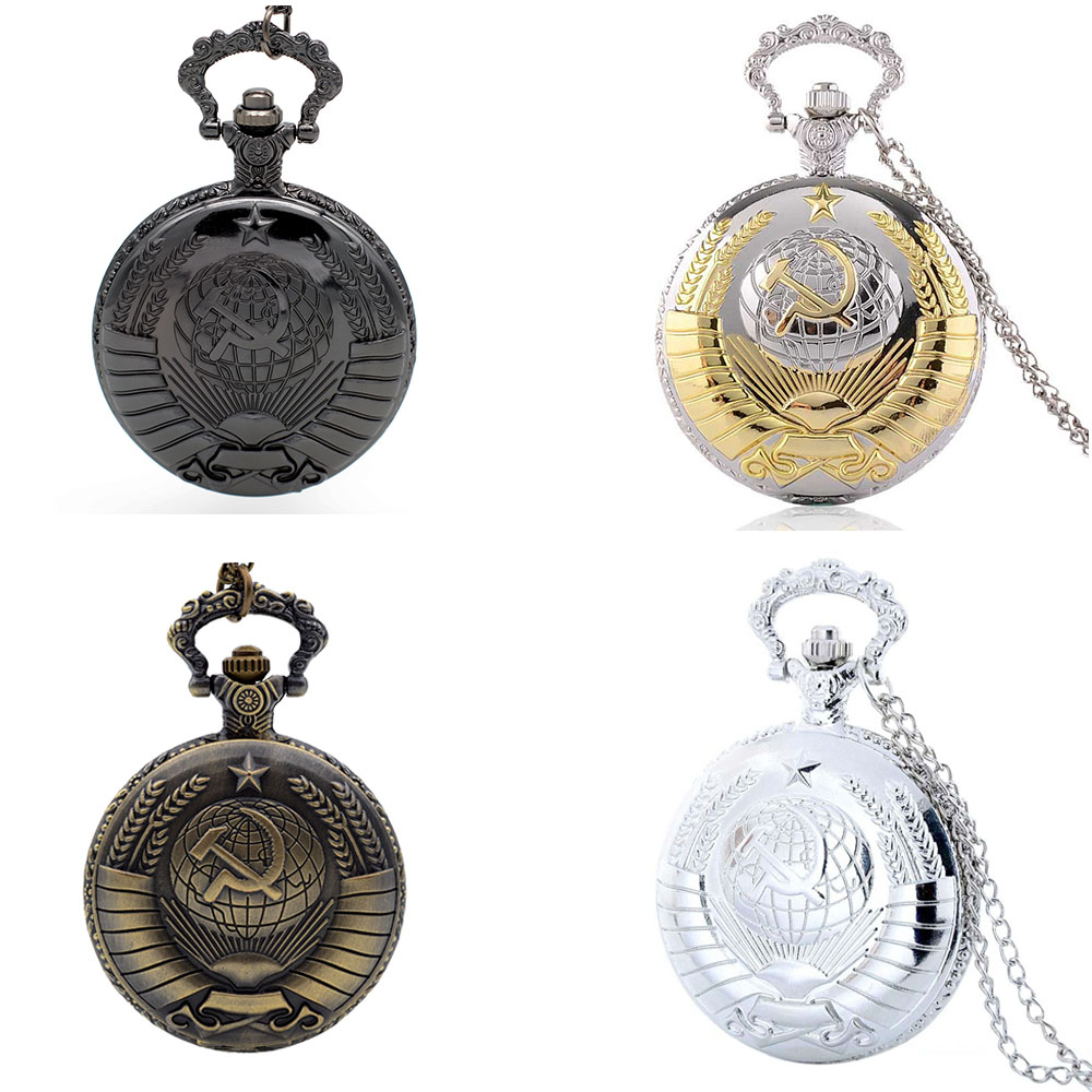 Cindiry Brand Soviet USSR emblem Earth Sickle Hammer Communism Quartz Pocket Watch Mens Womens Pendant Necklace Gifts P20 kyrgyzstan steel sickle weeding sickle blade length 16 5c garden agricultural tools