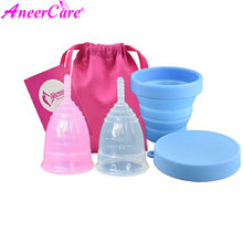 2pcs feminine Vaginal Menstrual Cup and Collapsible Sterilizer Flexible to Clean Camping reusable menstruation collector