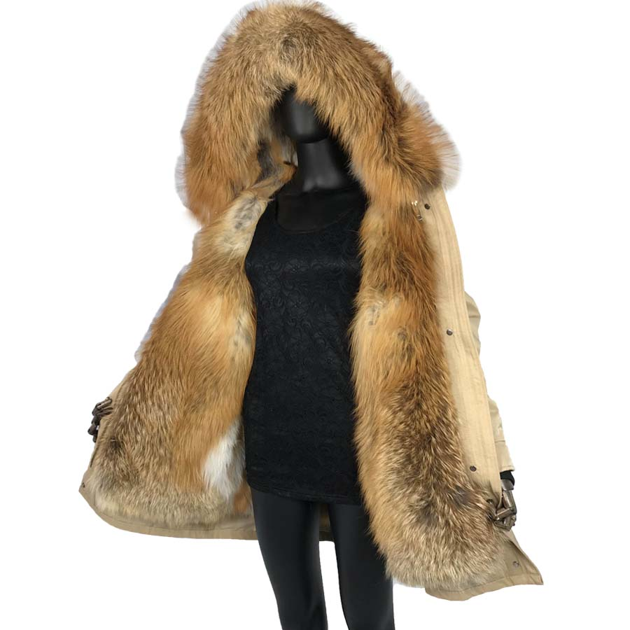 Real Fur Parkas For Women Winter Outwear 2019 New With Red Fox Fur Collar Hood Liner Large Red Fox Fur Coat Jacket Thick Warm Fo