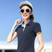 M- 5XL Plus Size Slimming Cotton short sleeve Women Polo Shirt Striped Summer Casual Ladies Fashion Polo Ralph Girls polo tops