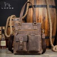 Lapoe Винтаж Для мужчин Crazy Horse Пояса из натуральной кожи сумка известного бренда плеча Курьерские сумки повседневные сумки ноутбук Портфели м