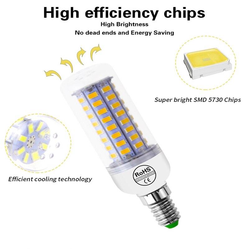 E27 LED Lamp E14 LED Bulb SMD5730 220V Corn Bulb 7/12/15/20/25/30 W Chandelier Candle LED Light For Home Decoration Ampoule