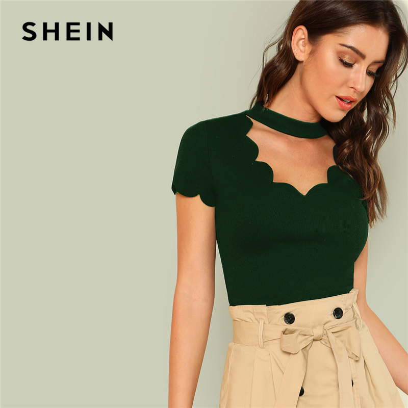 SHEIN Green Elegant Mock Neck Scallop Trim Tee Cut Out V Collar Solid Tee Summer Women Weekend Casual T-shirt Top mock collar sweatshirt cut out top white