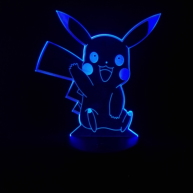 2018 Novelty Pokemon go game Pikachu 3D Lamp USB Night Light Multicolor LED RGB Lighting Bulb Luminaria Kid toys Christmas Gifts