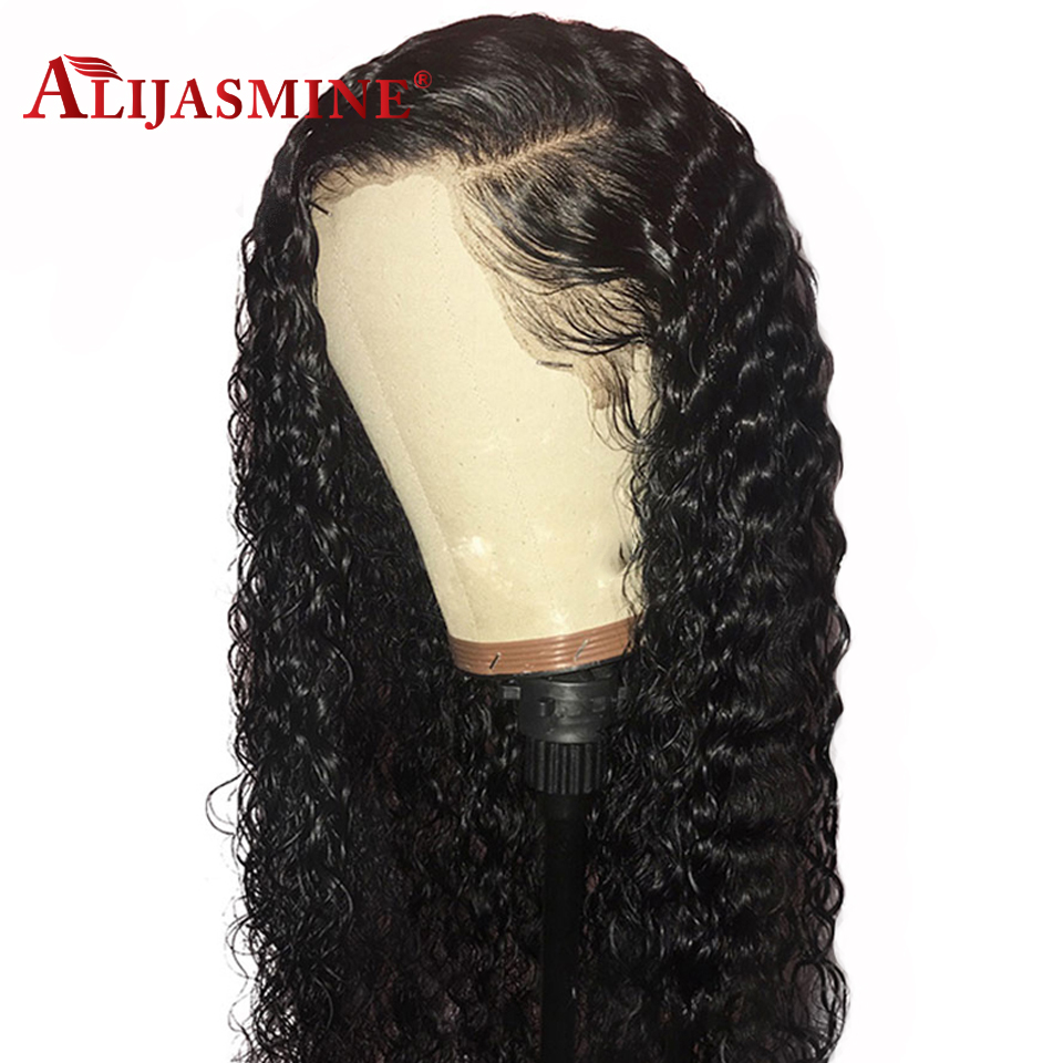 AliJasmine Curly Lace Front Wigs Peruvian Human Hair Wigs For Black Women With Baby Hair Remy