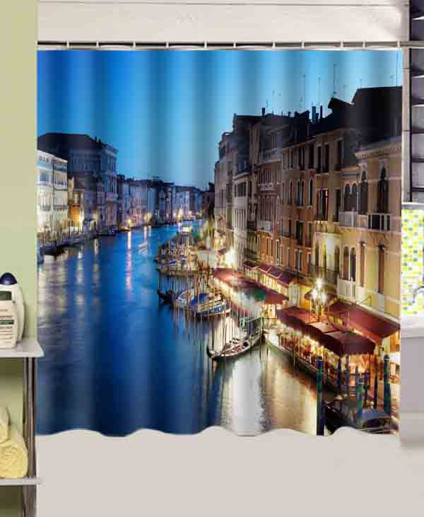 Bathroom products cities italy venice night printed - Rideau de douche polyester ...