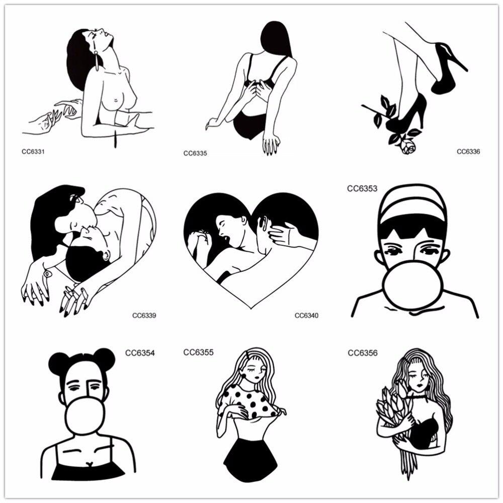 10pcs/lot Rocooart Ankle Shoulder Temporary Tattoo Stickers Make Love Deep Kiss Vintage Style Fake Tattoo Taty Tatuaje For Leg