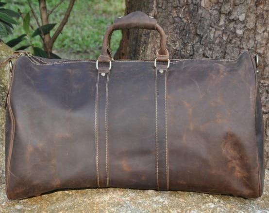 NEWEEKEND 9551 Vintage en cuir de vachette véritable fermeture à glissière souple grande sacoche pour ordinateur portable sac à main voyage bagage sac pour homme-in Voyage Sacs from Baggages et sacs    2