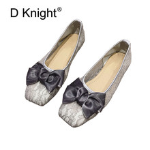 D Knight Summer Women Ballet Flats Lace Wedding Shoes Flat Heel Casual Shoes Square Toe Women Wedding Princess Flats Big Size 41 new 2018 sexy bow open toe women lace flats fashion breathable women flat summer shoes ladies casual ballet flats big size 35 41