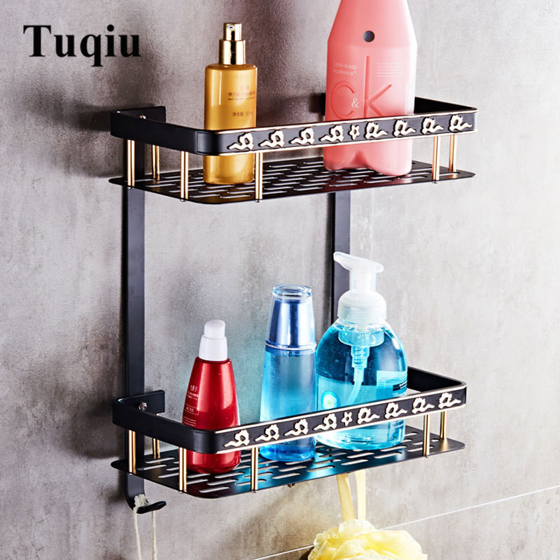 Bathroom Shelf Aluminum Corner Shelf Soap Holder Square Bath Shower