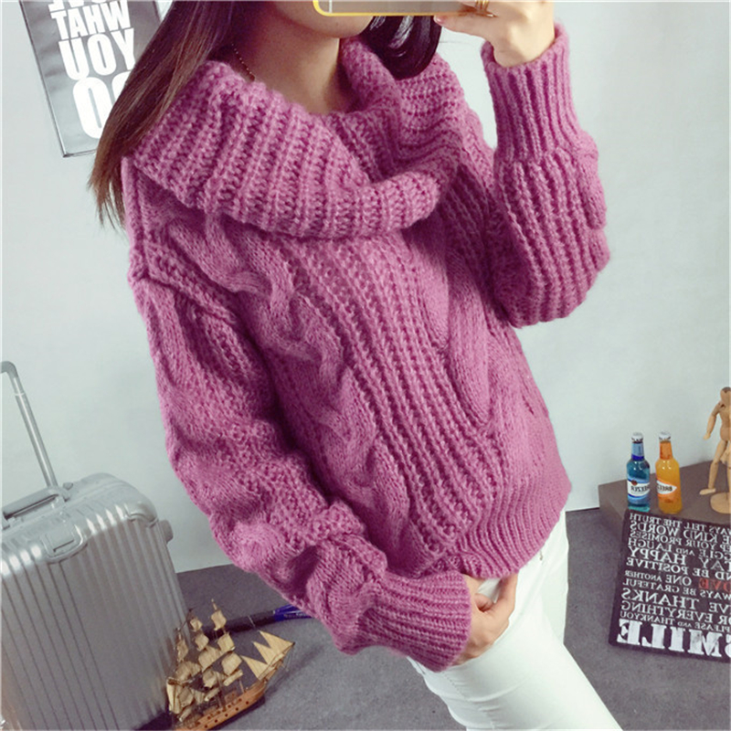 2018 Autumn And Winter New Sets Of Coarse Coats Sweater Coarse Wool Twist Was Thin High Collar Thick Sweater Woman