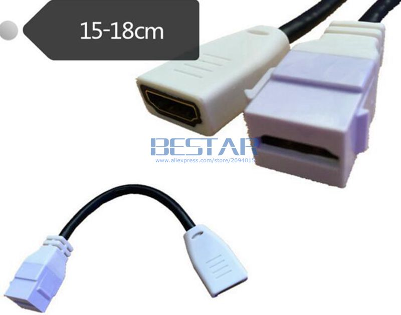 (100pcs/lot) 15CM HDMI Female to Female short cable Connector Head F/F Adapter HDMI plug panel with card button for Wall Plate