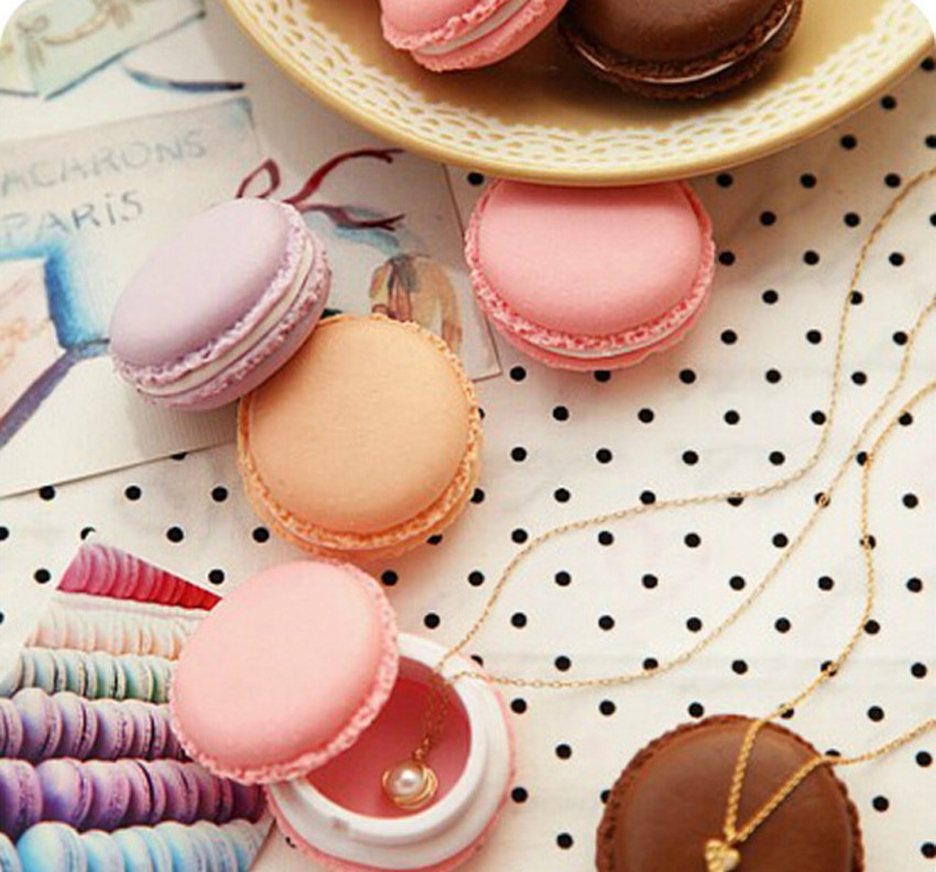 Portable Candy Color Mini Cute Macarons Carrying Case Organizer Storage Box For Jewelry Ring Necklace