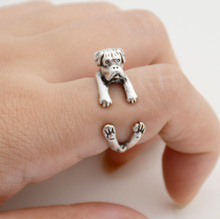 1 Piece Vintage Boho Cute Dog Anel Ring Hippie Chic Brass Knuckle Boxer Anillos Couple Love Rings For Women Men  Jewelry 2017