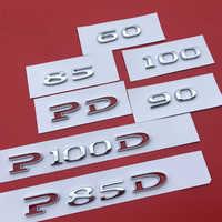 1 pc ABS Styling Spostamento Auto Emblem Sticker Logo 60 75 85 90 85D 100D P85D P90D P100D Accessori per tesla Model S Modello X