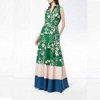 New Arrival 2018 Summer Green Sleeveless Printed Long Dress Women S Dress 180302X02
