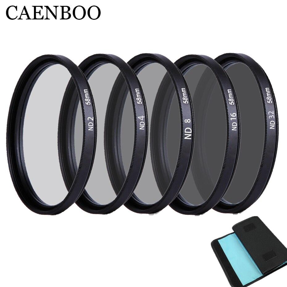 цена на CAENBOO 37mm Lens ND Filter ND2 4 8 16 32 Lens Protector Neutral Density 40.5mm ND16 ND32 Lens Filter Bag For Canon Nikon Camera