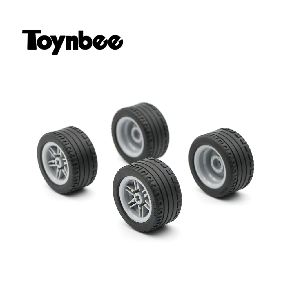 Technic Parts Wheel Tire Cross Hole Building Blocks 43x22mm Car Truck Model MOC DIY Brick Toy Compatible With LegoINGlys Technic 30pcs lot toggle switch with mounting hole 2 stalls circuit components diy model parts small toy switches