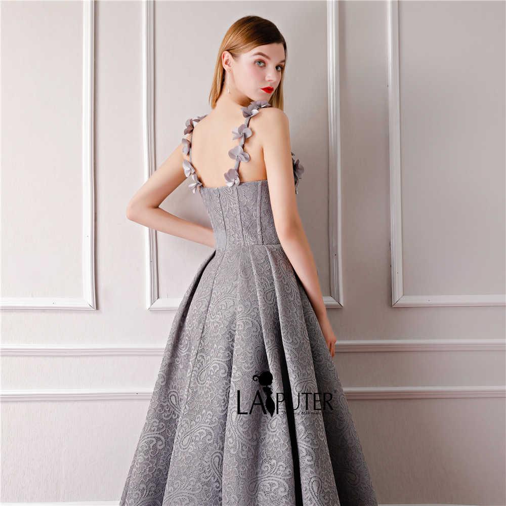 ad37d17f4b9 ... LAIPUTER 2018 Elegant Prom Dress Long Silver Grey 3D Flower  Embellishment Sweetheart Neck Straps Formal Evening ...