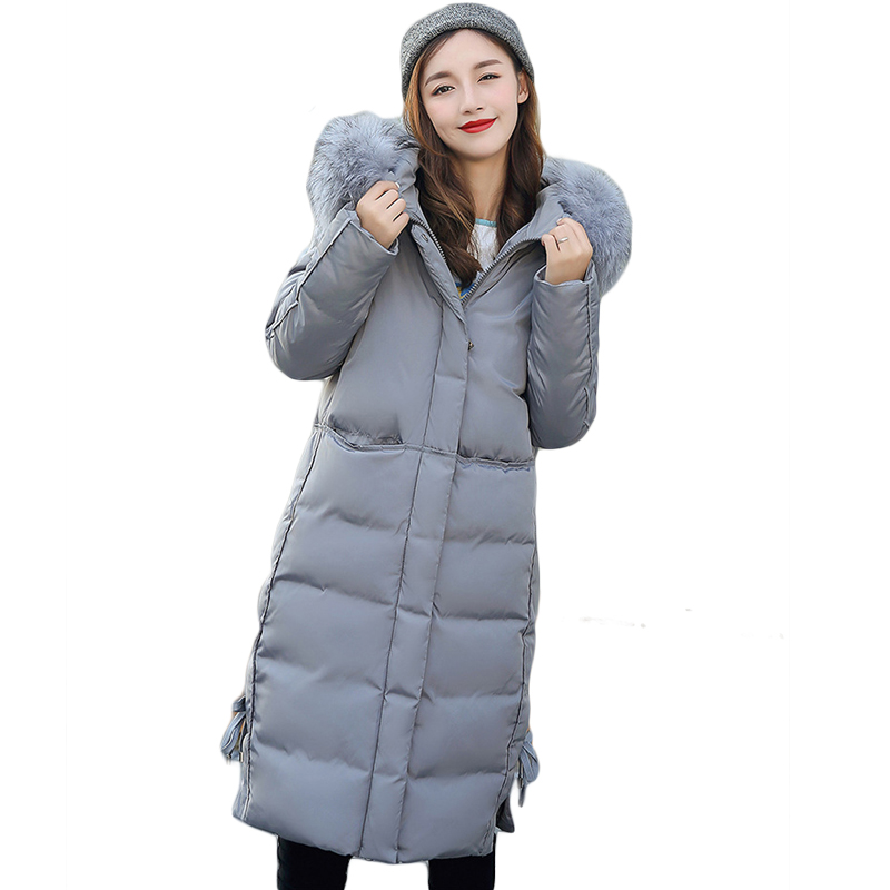 2017 New Winter Jacket Women Long Slim Large Fur Hooded Women Down Cotton Jacket Thick Female Wadded Jacket Plus Size 4XL CM1561 2017 new winter jacket women long slim large fur collar hooded down cotton parkas thick female wadded coat plus size 4xl cm1373