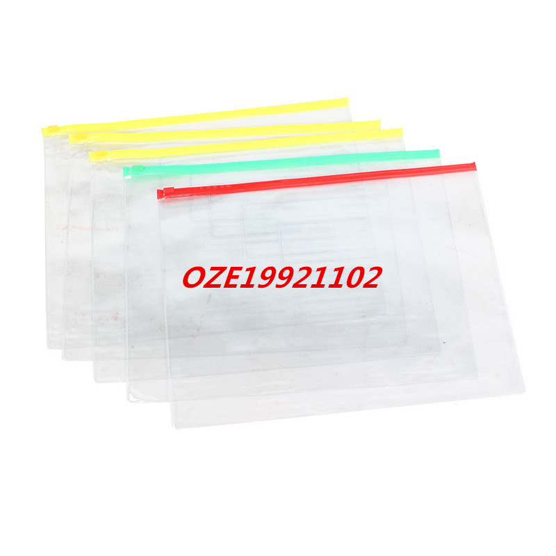 5 Pcs  Plastic Water Resistant Pen A4 File Papers Ziplock Bags Folders Clear