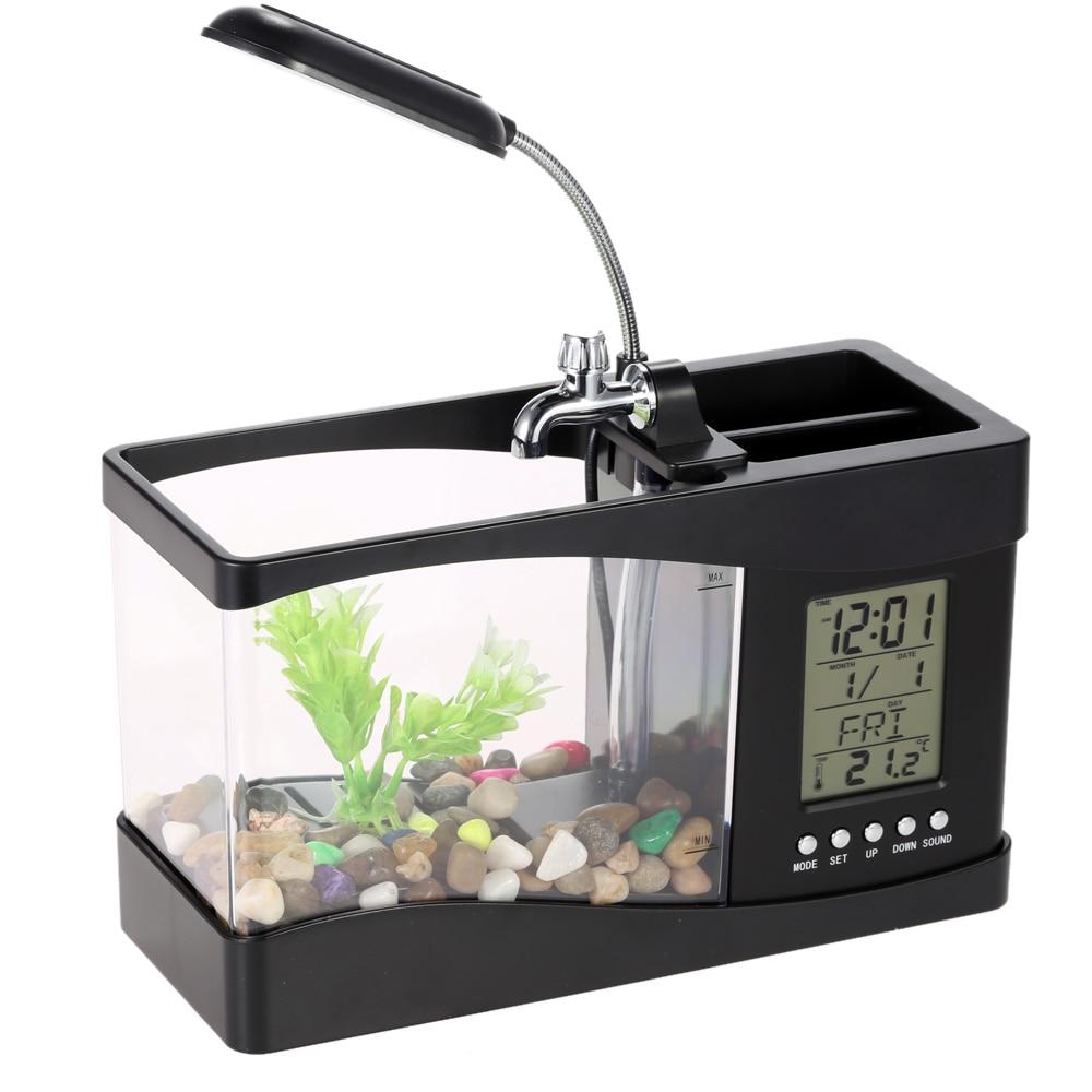 Usb mini aquarium fish tank with colorful light - White Black Electronic Usb Mini Aquarium Desktop Mini Fish Tank With Water Running Led Pump