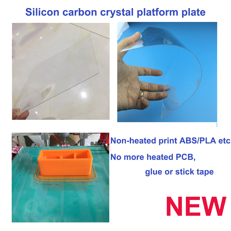silicon carbon acrylic 3d printer build bed plate need no heating print abs-pla-nylon filament