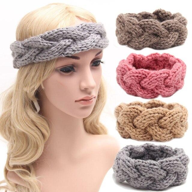 Fascia del crochet per donne e ragazze treccia fascia capa cable knit  inverno headwear fascia dei 33b2081ff0a2