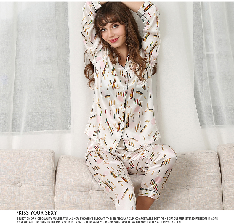 Silk Stain Pajamas Set Women Flower Print Winter Autumn  Long Sleeve Full Pants Silk Pyjama Set Homewear Sleepwear