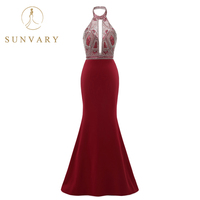 Sunvary New Arrival Heavy Beading Halter Prom Dresses 2018 Floor Length Mermaid Long Prom Gown Sparkle