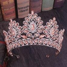 Luxury Baroque Diamante Large Crystal Floral Tiaras and Crowns  Rhinestone Bride Tiaras Hair Jewelry Wedding Hair Accessories LB
