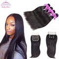 Brazillian Virgin Hair With Closure 4 Bundles Brazilian Straight Hair With Closure Human Hair Lace Closure With Bundles