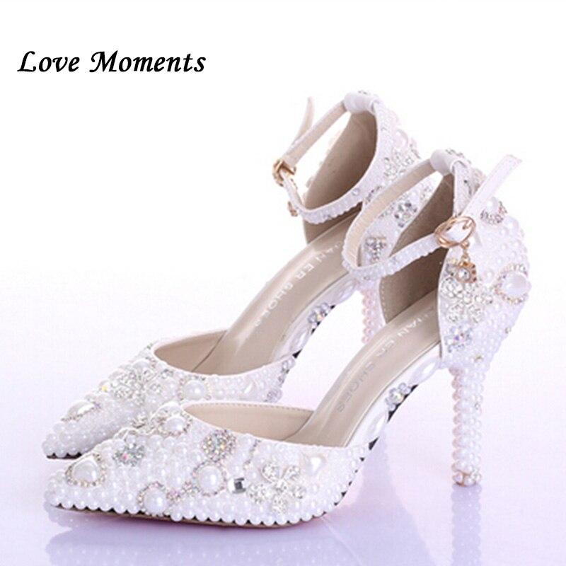 Haute qualité luxe ivoire perle chaussures de mariage cristal à talons hauts pompes femmes plate-forme chaussures de mariage chaussures de performance