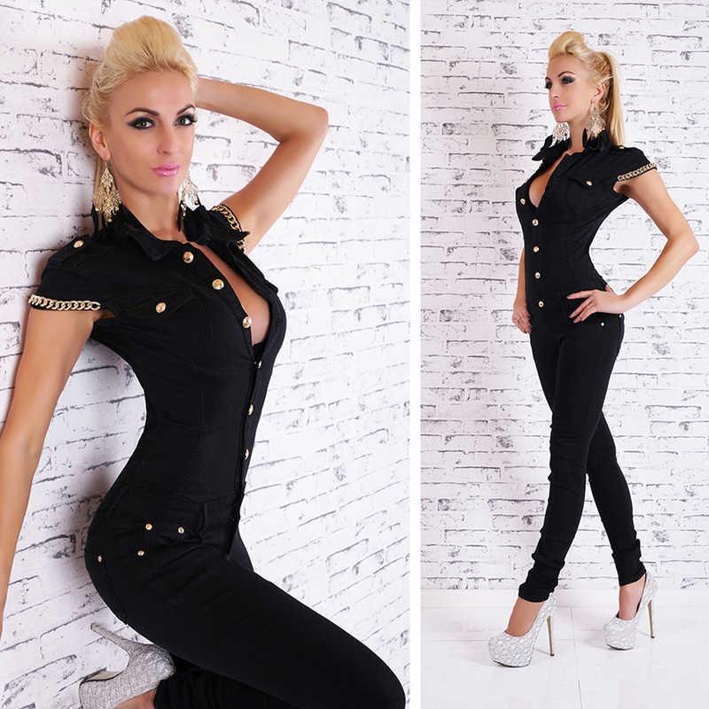 2017 Модный женский джинсовый длинный комбинезон, сексуальный глубокий v-образный вырез, джинсовые комбинезоны с пуговицами и цепочкой, черные комбинезоны для женщин, Осенние Комбинезоны