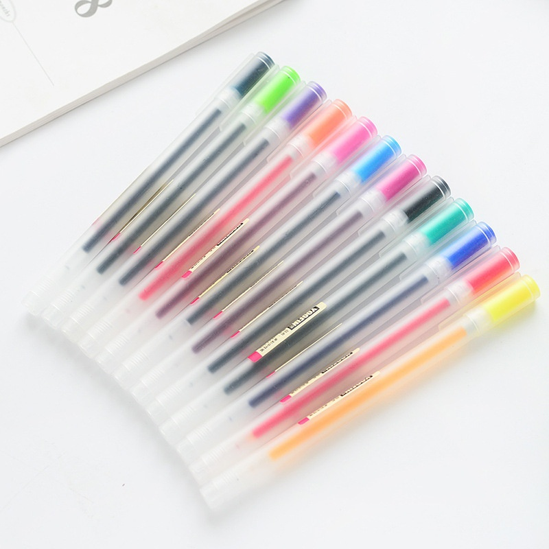 12 Colors 0.5mm Muji Japanese Color Gel Pen Maker Pen School Office Student Painting Graffiti Writing Stationery Supply Gift 5pcs muji style japanese zebra jj15 press pens milk color light color line drawing pen gel pen for student writing stationery