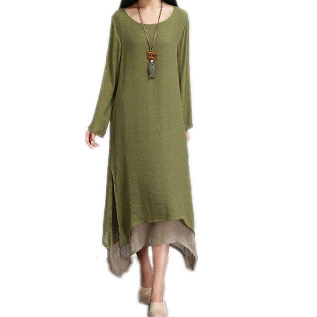 a17c16ee1c Clobee spring autumn summer style cotton linen women loose long dress mori  girls boho party vestidos