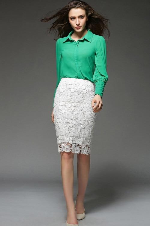 Ladies White Pencil Skirt - Dress Ala