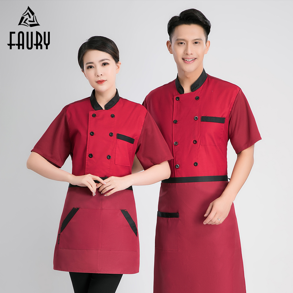 2019 Chef Uniform Mesh Breathable Fabric Sleeves Summer Cool Cook Jacket Barber Food Service Unisex Work Clothes Unisex Hotel