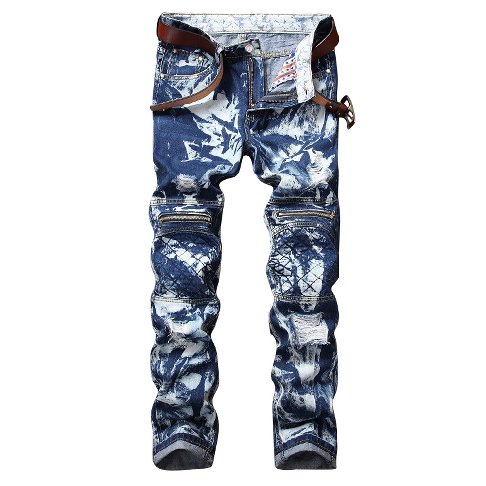 New Arrival Fashion Brand Designer Men Torn Jeans Pants Washed Slim Fit Distressed Denim Joggers Blue Ripped Jeans Printed jeans fashion brand designer mens torn jeans pants hi street ripped denim joggers gray distressed jean trousers man streetwear lq076