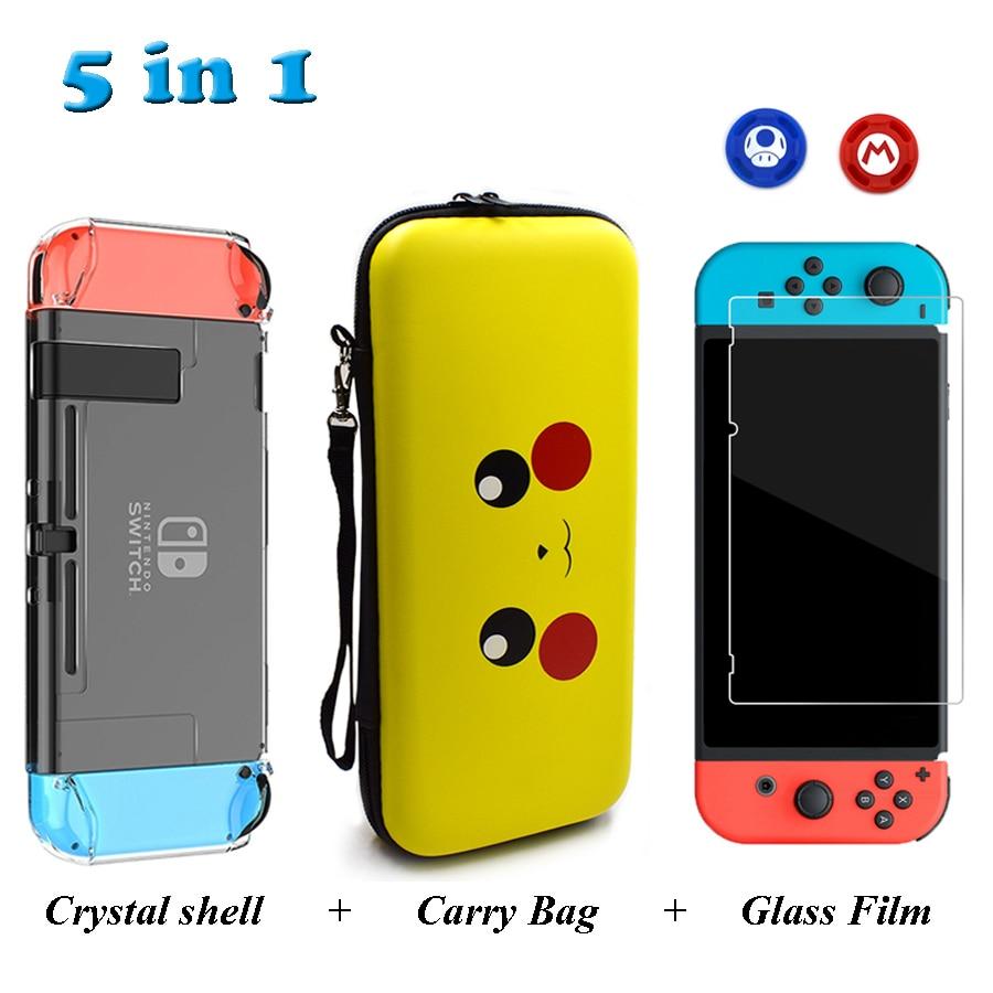 Accesorios de interruptor Nintend bolsa de transporte de viaje y película de vidrio templado y funda dura de cristal y 2 tapas analógicas para Nintendo Switch NS