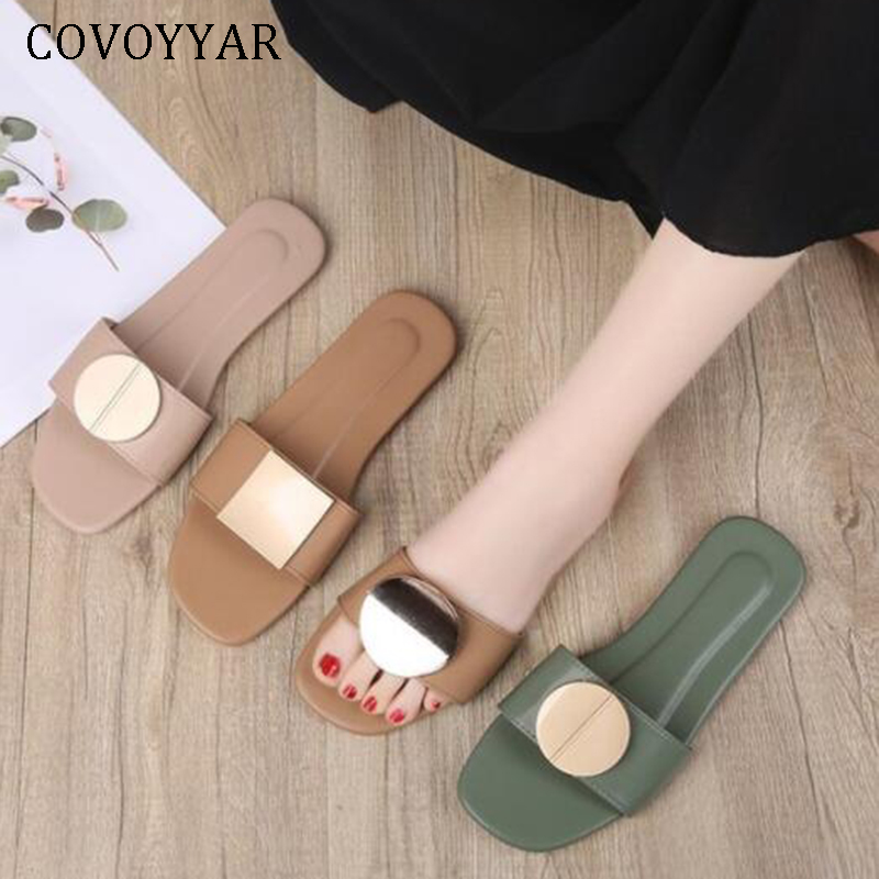 COVOYYAR 2019 Flat Shoes Woman Summer Slippers Outdoor Pu Leather Beach Slide Sandals Lady Casual Shoes Big Size WSL65